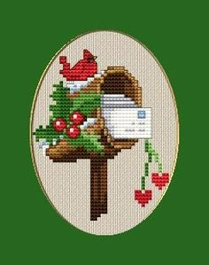 Christmas Cardinal Bird on Post Box Picture