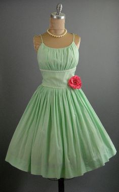 1950's Mint green gingham dress