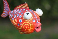 clay, mother, famili, paper mache fish, fish idea, mach fish, father