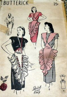 1940's Butterick Quick & Easy Apron Pattern. by ebay