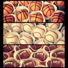 Sports themed cake balls