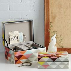 jewelri box, gift ideas, triangles, mosaics, boxes, mosaic triangl, bedroom, triangl jewelri, west elm