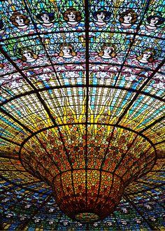 The Dome at Palau de la Musica Catalana in Barcelona, Spain.