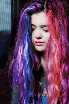 Bright colored hair - purple, blue, red and pink | Want more awesome hair? Follow us here --> http://www.pinterest.com/thevioletvixen/crazy-hair-times/