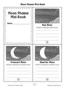 Minibook: Moon Phases This printable minibook can help your child learn to identify and label moon phases.