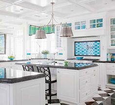 floor, dream, color, blue, black white, kitchen design, hous, white cabinets, white kitchens