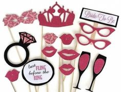 Bachelorette Party Props - Last Fling Before The Ring - Glitter Photobooth Props - 15 piece set - Wedding PhotoBooth. A great Bachelorette party accessory for an upcoming bachelorette party. A Bachelorette photo prop kit with rings, lips, glasses and champagne flutes as props. The last fling before the ring. $20.00. http://aftcra.com/photoboothshop/listing/3207/bachelorette-party-props-last-fling-before-the-ring-glitter-photobooth-props-15-piece-set-wedding-photobooth