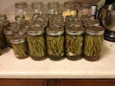 Dilly beans canning recipe.  Oh how I wish someone would make these for me...since I don't can!