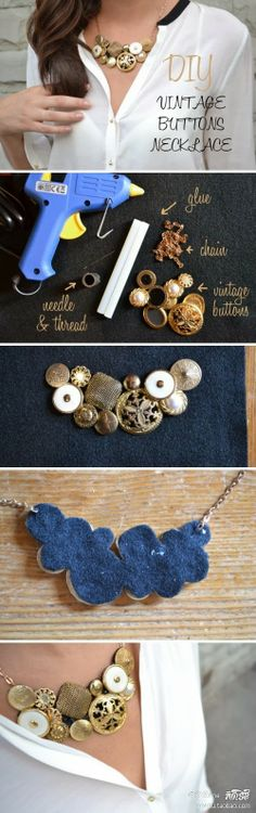 Make necklaces from vintage buttons idea, vintage buttons, button necklace, crafti, necklaces, jewelri, diy, thing, vintag button