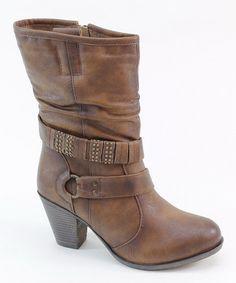 Brown Wrap Strap Boot