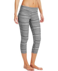 Striped gray Under Amour capris ($75) add a little welcome style without too much flash.