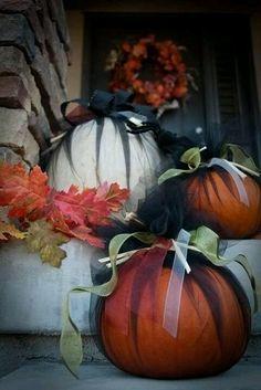 Pumpkin decorating idea...in case we don't feel like carving a bazillion pumpkins! ;p