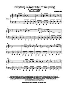 Everything is AWESOME!!! - Tegan and Sara free easy piano sheet music (from The Lego Movie). MORE: www.PianoBragSongs.com.