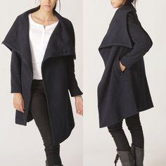 Big collar wool coat by FM011