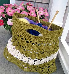 bag - pretty design for a yarn bag, though I'd use a pretty color!