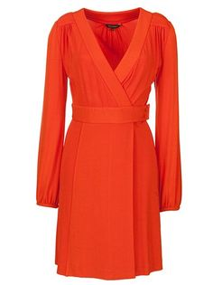 Tara Jarmon Long Sleeved Wrap Dress, Orange / Vestido largo con mangas para invitada de la boda / boda