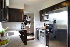 beauti kitchen, kitchen idea, black kitchen, subway tile, new kitchens, tile kitchen, kitchen remodel, decor idea, kitchen cabinets