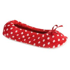 Red and White Polka Dot Slip on Shoes