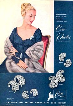 An elegant ad from the 1940s of Coro Duette dress clips. #vintage #ad #fashion #jewelry
