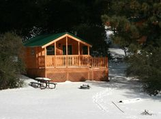 Cabin camping in the snow at William Heise County Park. To make camping reservations visit www.sdparks.org.
