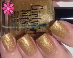 Girly Bits - Selfie Bomb - A gold shimmery holo microglitter, with accents of pink and lavender. swatch by Cosmetic Sanctuary