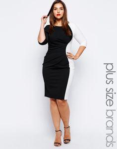 Lipstick Boutique Plus Contrast Panel Dress