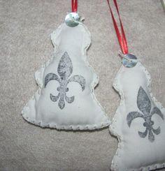 Fleur De Lis Fabric and Felt Christmas Tree X 2