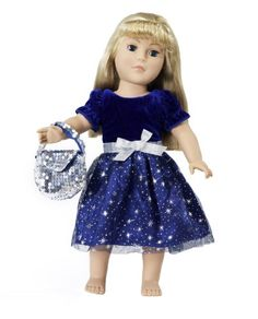 """18 Inch Doll Clothes/clothing Fits American Girl - Midnight Dress Outfit for 18"""" Dolls Plus Accessories"""
