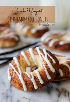 Greek Yogurt Cinnamon Roll Donuts