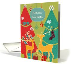 From our new home, retro Christmas card, reindeer card (1110116) by Barbara Screiber