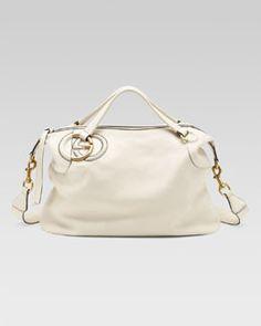 Gucci Twill Leather Large Shoulder Bag Splash 25