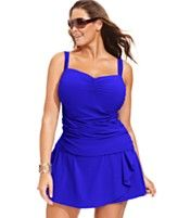 Profile by Gottex Plus Size Ruched Underwire Tankini Top & Draped Swim Skirt