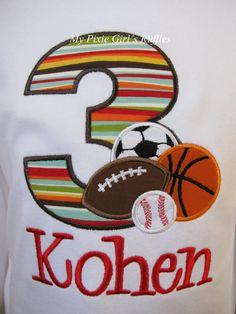 Monogrammed Sports Themed Birthday.