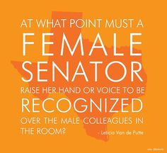 At what point must a female senator raise her hand or voice to be recognized over the male colleagues in the room--
