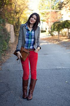 Red Jeans + Plaid Button-up + Grey blazer + boots + double belt