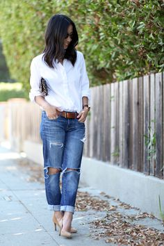 Style your Gap boyfriend jeans with a simple button down shirt. To dress it up, add heels and carry a clutch. Blogger Crystalin Marie wears this look perfectly.