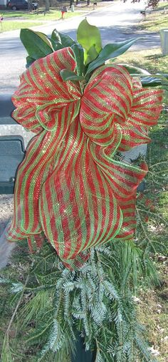 Red & Lime Green Deco Mesh Bow is all that is needed with an abundant supply of Greenery - Christmas Mailbox