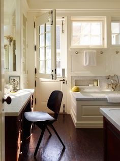 Dutch Door in the Bathroom by Sawyer Berson Architects