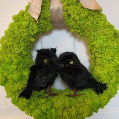Halloween Owl Wreath, Reindeer Moss Wreath, Fall Wreath, Halloween Wreath, Perfect Gift, Nature Wreath, Green Wreath