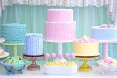 dessert tables, pastel, cake desserts, vintage cakes, cake stands