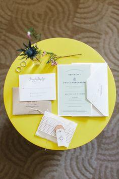 modern wedding invitations, photo by The More We See http://ruffledblog.com/philadelphia-estate-wedding #weddinginvitations #stationery