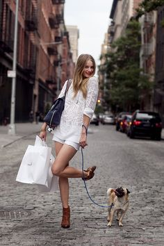 yes, please.  I'd like to take a walk along a cobblestone street in booties with a big bag and a dog! ^_^