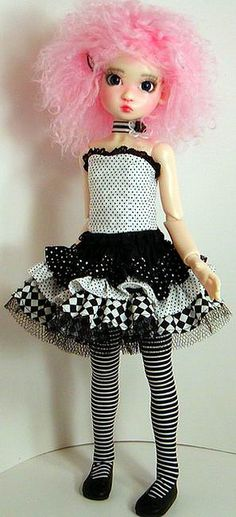 ABBlkWhtCorsetRufflesReverseFull by Sweet Creations Doll Fashions