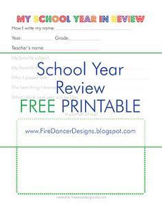FireDancer Designs: FREE Printable: My School Year in Review