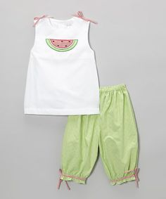 Take a look at this White & Green Watermelon Top & Pants - Infant & Toddler by Petit Pomme on #zulily today!