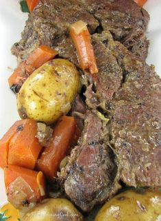 This slow cooker pot roast is fork tender and so delicious  Get the recipe http://thegardeningcook.com/savory-slow-cooker-pot-roast/
