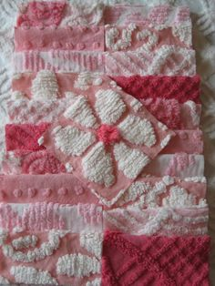 Vintage Chenille Sqaures -  21 Assorted Pinks. $21.00, via Etsy.