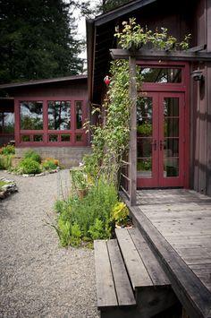 architect, red doors, back doors, decks, exterior houses, backyard, garden, design, exterior house colors