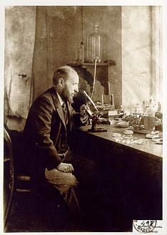 Ramón y Cajal y his laboratory. Santiago Ramón y Cajal (1 May 1852 – 17 October 1934) was a Spanish pathologist, histologist, neuroscientist, and Nobel laureate. His pioneering investigations of the microscopic structure of the brain were original: he is considered by many to be the father of modern neuroscience. He was skilled at drawing, and hundreds of his illustrations of brain cells are still used for educational purposes today.