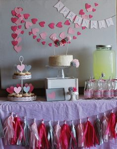 "Hearts at a Gray and Pink ""Sprinkled with Love"" Baby shower!  See more party ideas at CatchMyParty.com!  #partyideas #babyshower"